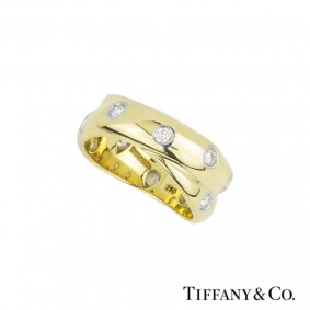 Tiffany & Co. 18k Yellow Gold Diamond Set Crossover Etoile Ring